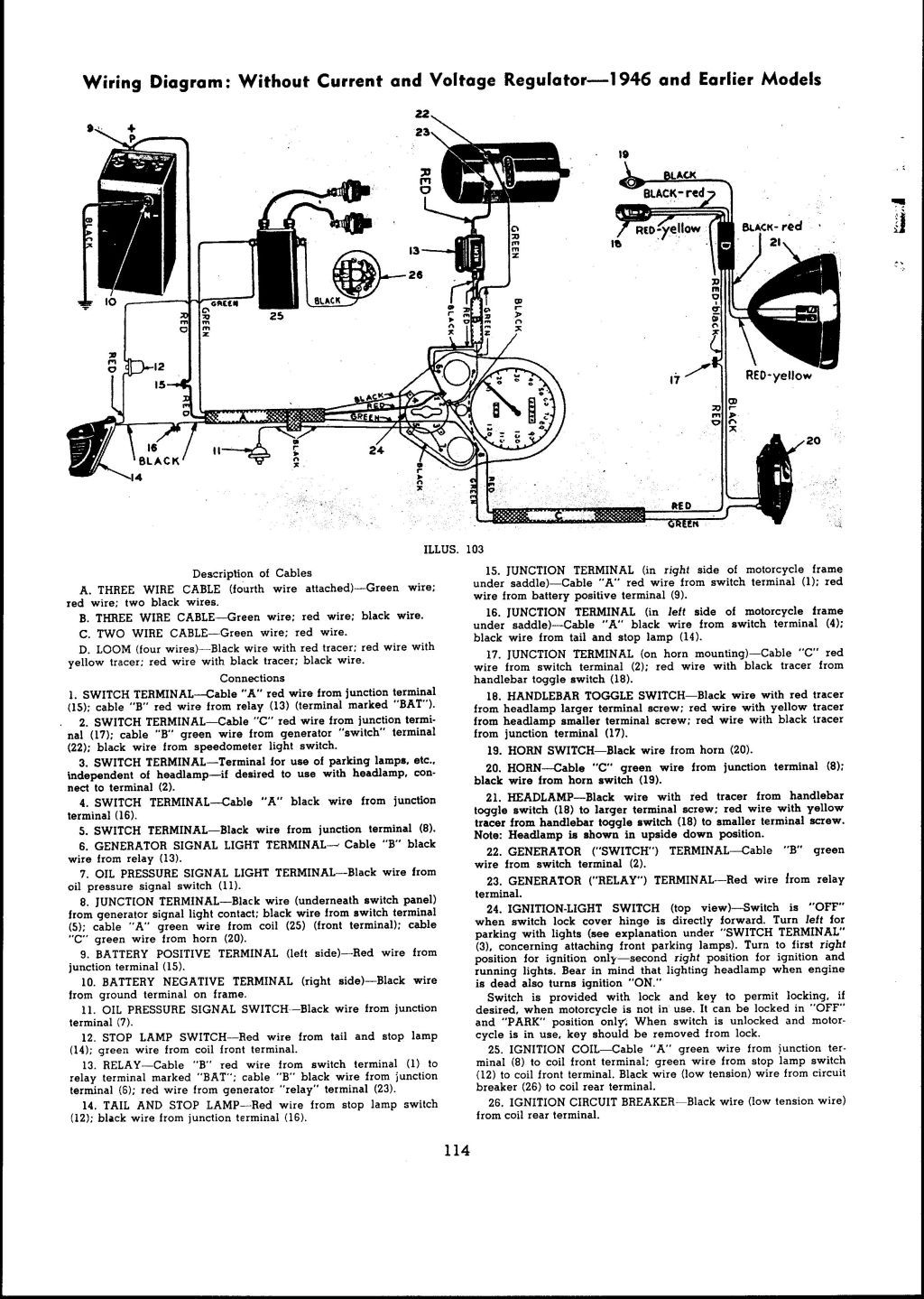 1946 and earlier models Wiring diagram: With current and ... Harley Dyna Voltage Regulator Wiring Diagram on